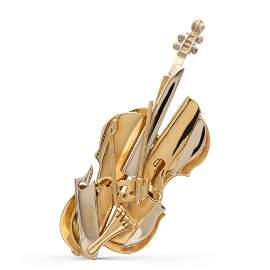 Fernandez Arman, violin sculpture brooch limited