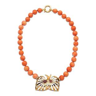 Tiffany & Co., pink coral necklace 1950/60s weight 68