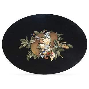 Pietra dura oval top Italy, 19th century 87x66 cm.