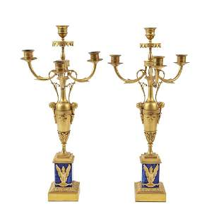 Pair of 4 lights gilt bronze and lapis lazuli