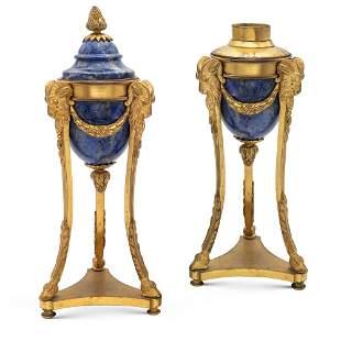 Pair of gilt bronze and lapis lazuli cassolettes