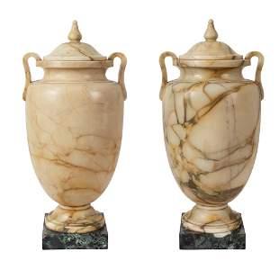 Pair of yellow Siena marble vases 20th century 65x30x27