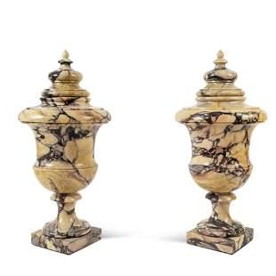 Pair of breccia medicea potiches Italy, 20th century h.