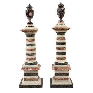 Pair of polychrome marble columns 19th century h. 52 cm