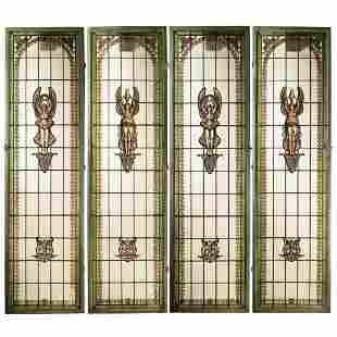 Four artistic glass windows France, 19th-20th century