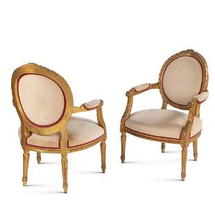 Pair of gilt wood armchairs France, 19th-20th century
