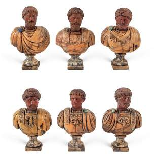 Collection of polychrome marbles busts (6) 19th-20th