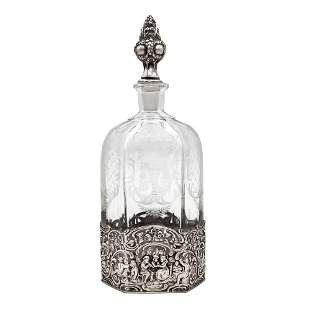 Silver and crystal bottle Germany, late 19th century h.