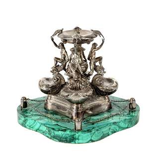 Silver sculpture with marble base Rome, 20th century