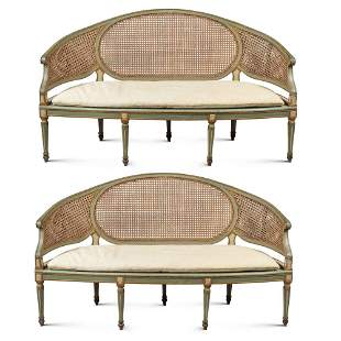 Pair of lacquered wood sofas