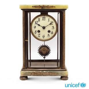 Green alabaster Lenzkirch pendulum clock