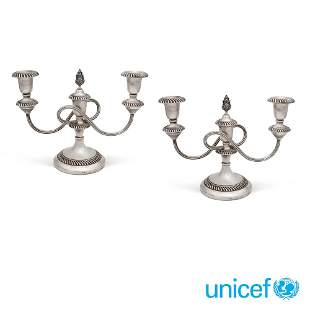 Pair of silver candlesticks Italy, 20th century weight