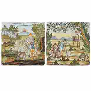 Two majolica tiles painted in polychrome Castelli,