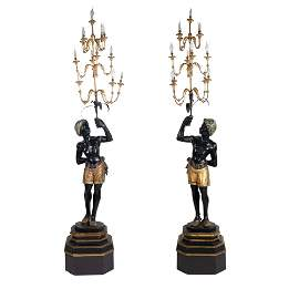 Pair of lacquered and gilt wood sculptures