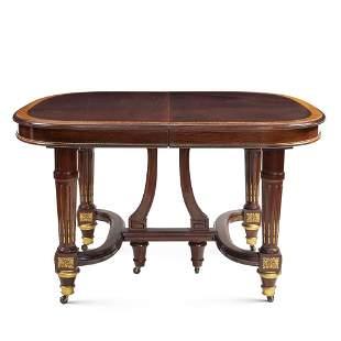 Mahogany and satinwood dining table