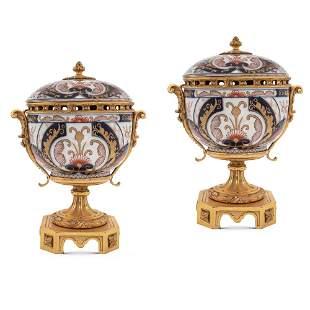 Pair of Imari porcelain and gilt bronze potiches