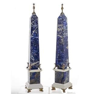 Pair of lapis lazuli obelisks Italy, 20th century h. 56