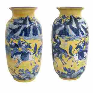 Pair porcelain vases China, 20th century 40,5x20 cm.