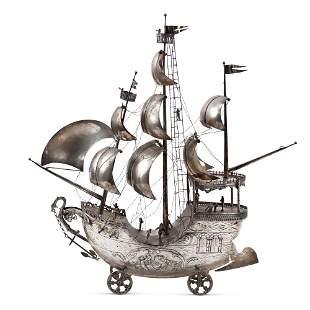 Silver metal galeon model Holland, 19th-20th century