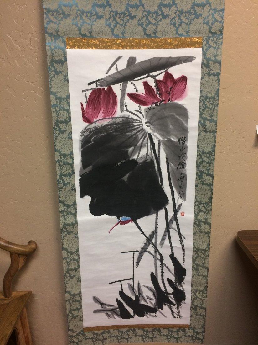 Hand Painted Lotus Scroll