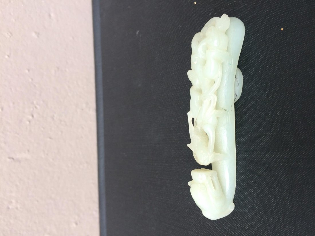 White Jade Carved with Dragon Belt Buckle
