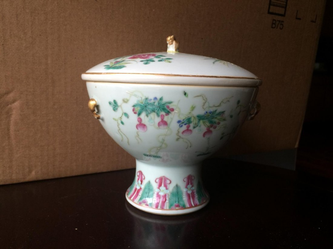 Stem Porcelain Bowl With Cover - 2
