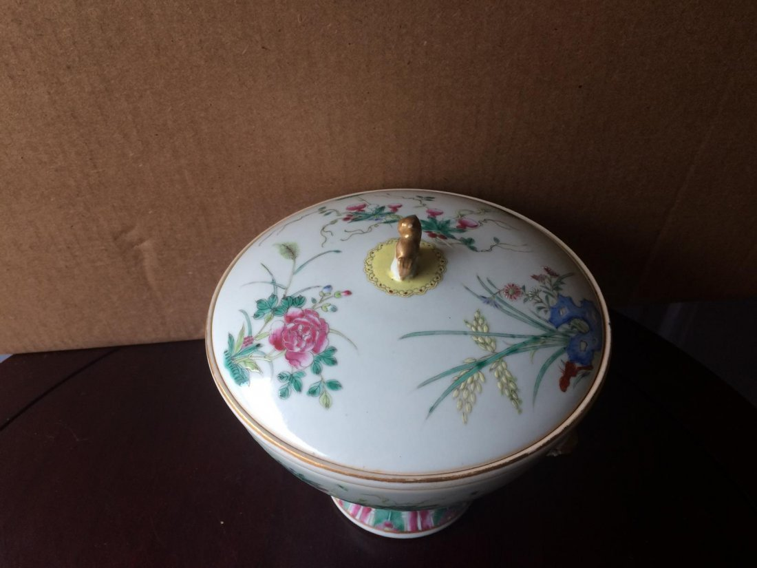 Stem Porcelain Bowl With Cover - 3