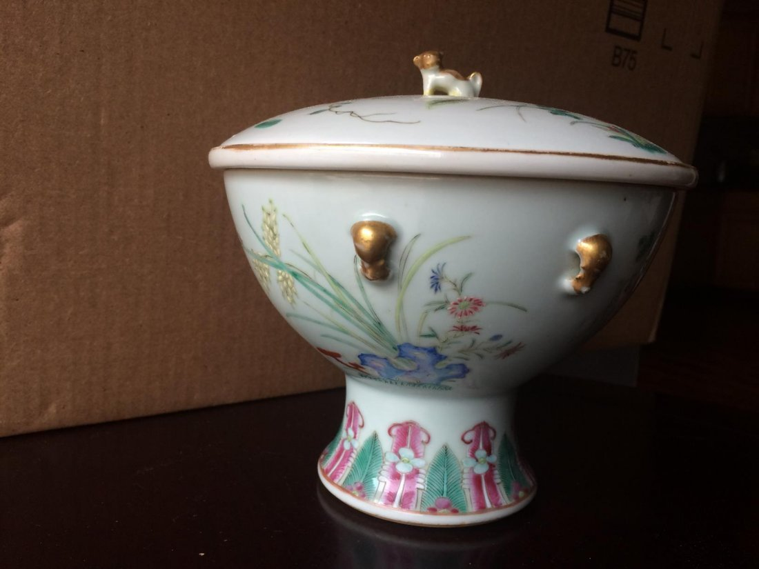 Stem Porcelain Bowl With Cover - 4