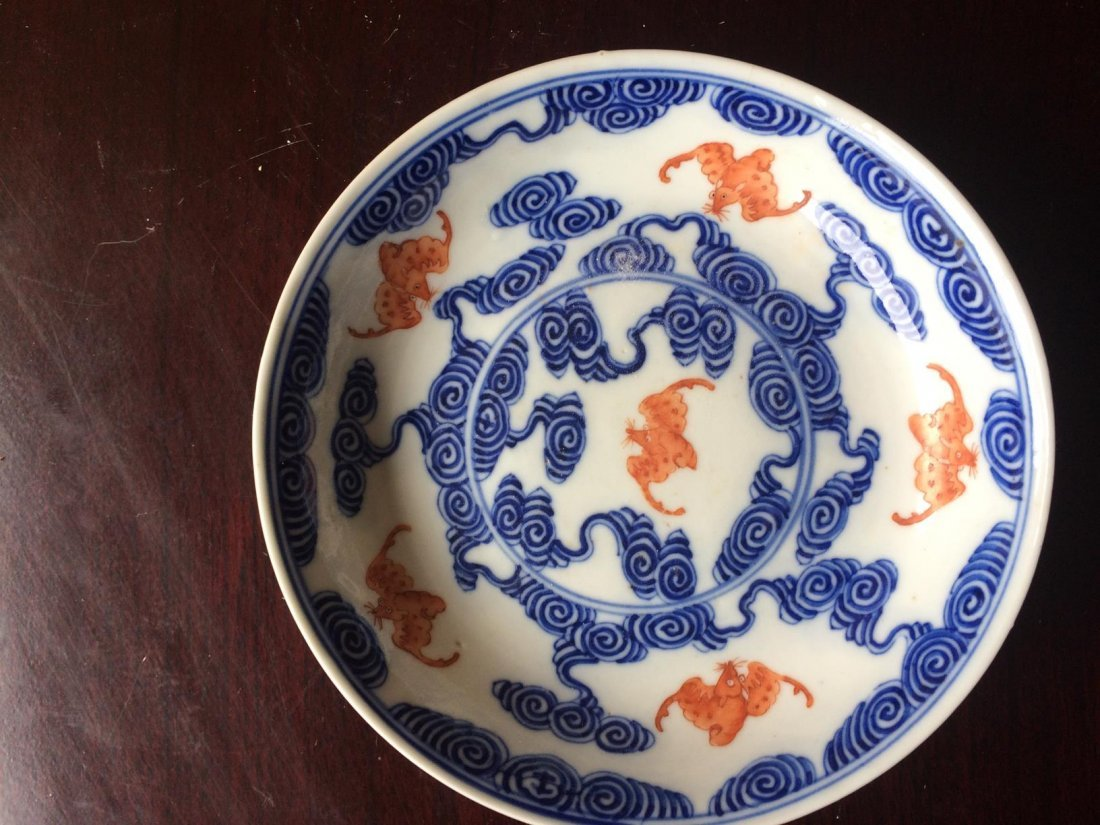Blue White and orange 19th century Plate
