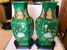 late 18-19th centery Green Flower vases