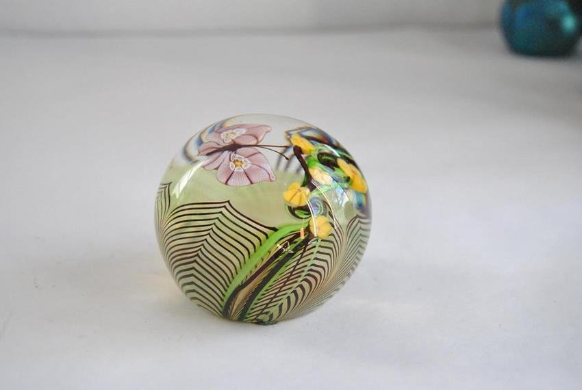 paperweight butterfly yellow flowers