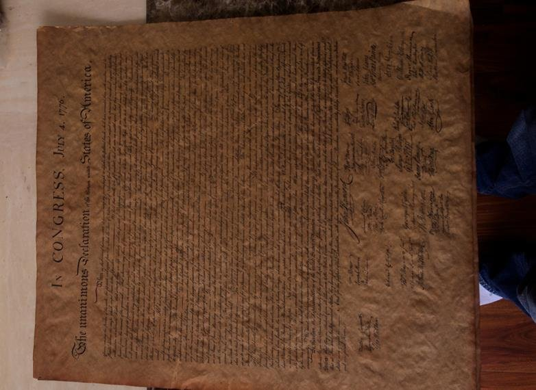 Antique Copy Of The Declaration Of Independence