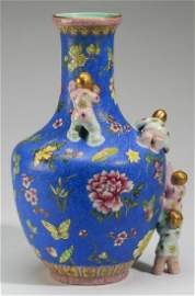 Chinese bottle vase with applied figures