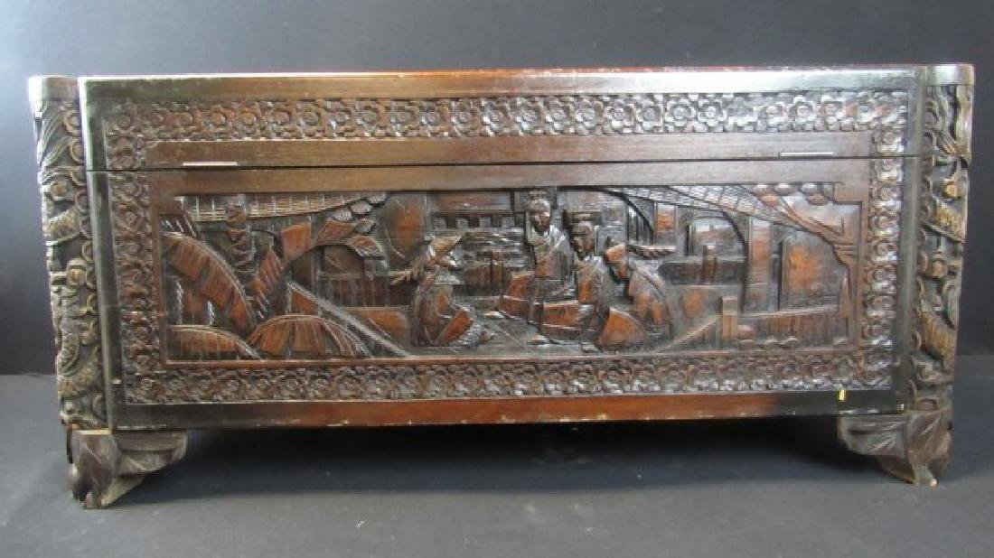 Chinese Hand Carved Wooden Chest