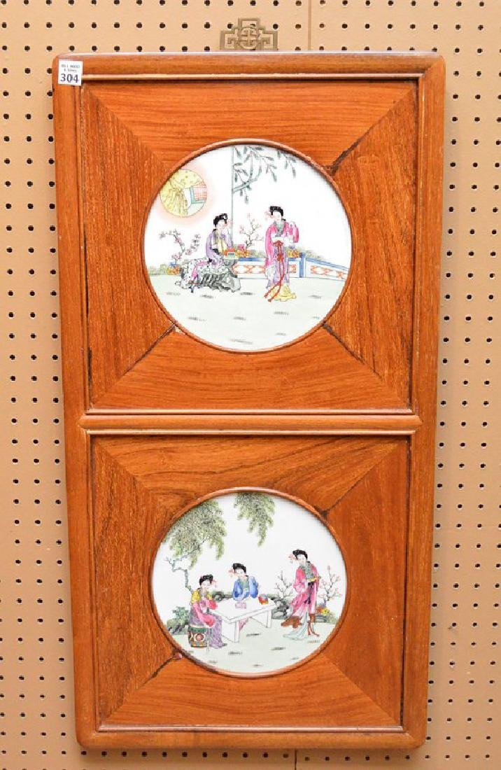 """2 framed Chinese porcelain plates, 33""""h x 17""""w"""