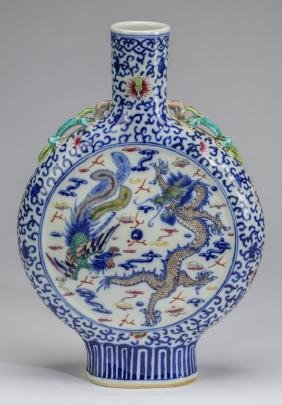 "Chinese dragon & phoenix moonflask, 15""h"