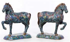 Pair of Asian Cloisonne Horses