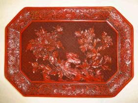 HUGE FINE Vintage Deeply Carved Lacquer Cinnabar Tray