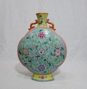 Chinese Famille Rose Porcelain Flat Vase With Mark