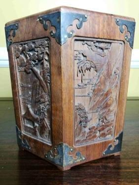 A Chinese fine carved landscape wooden penholder