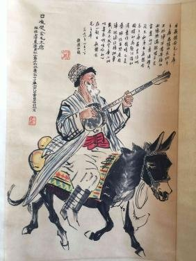 A Chinese scroll painting of musician on donkey