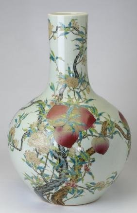 Large Chinese porcelain bottle neck vase