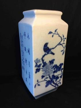 Blue and white Square porcelain with painting and poem