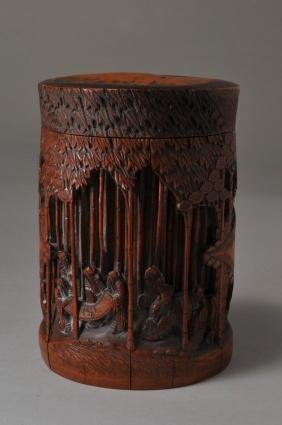 19th century Chinese carved Bamboo round covered box