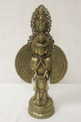 Bronze sculpture of standing Buddha with thousand hands