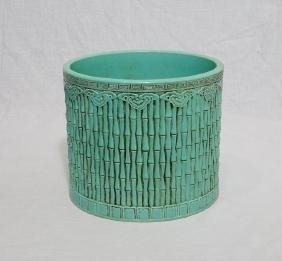 Chinese Monochrome Green Glaze Porcelain Brush Washer W