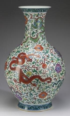 Chinese dragon bottle vase
