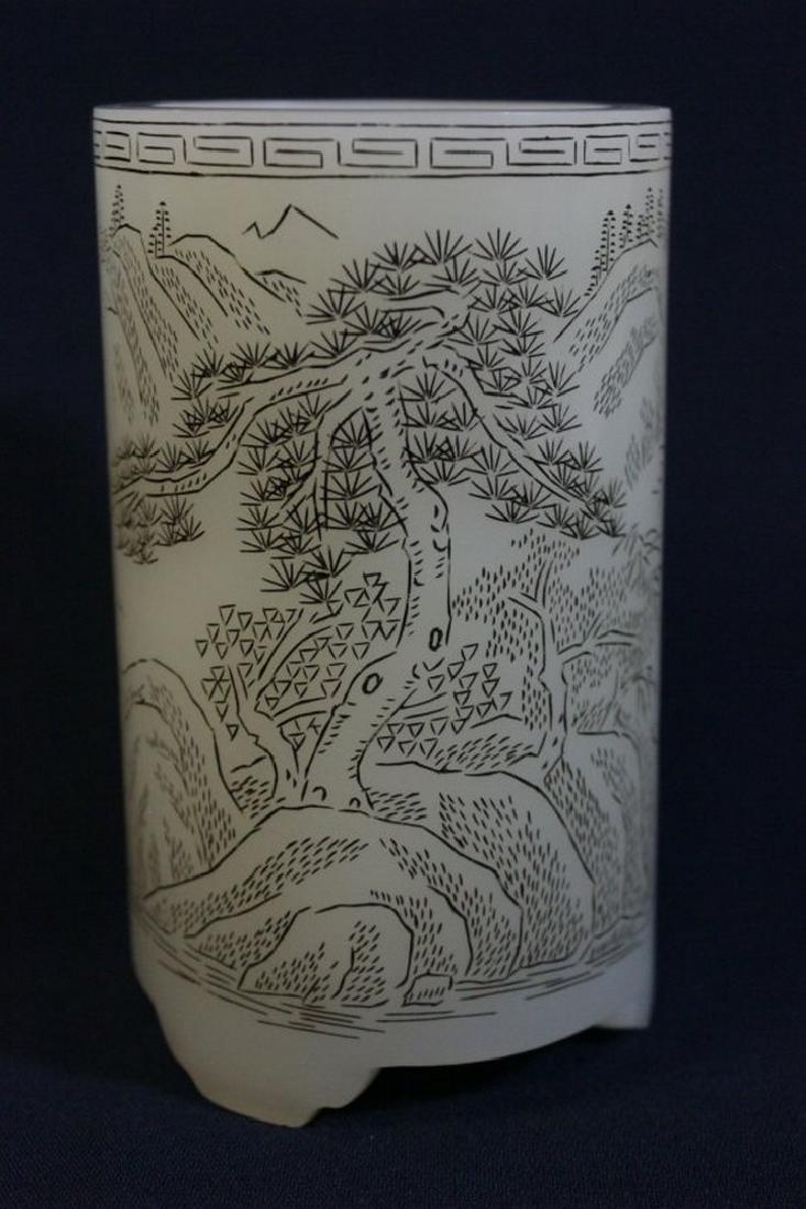 Chinese white Peking glass brush holder - 3