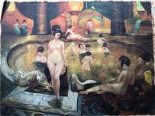 Large Canvas oil painting of Tang Lady bathing figure