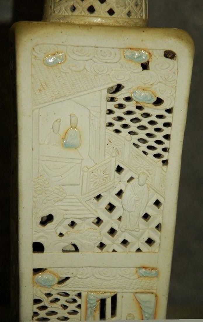 Antique Chinese bisquit porcelain vase with celadon - 3